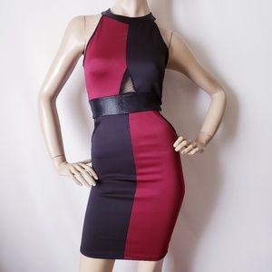 Letté Black & Burgundy Color Block Dress